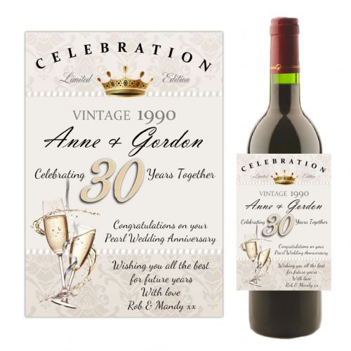 Personalised 30th Pearl Wedding Anniversary Wine / Champagne Bottle Label N57